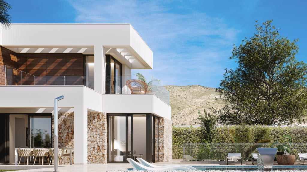 11 newly built luxury villas with 3 bedrooms, 3 bathrooms, terrace, private pool, parking and cassock in finestrat hills residential Alicante image 1