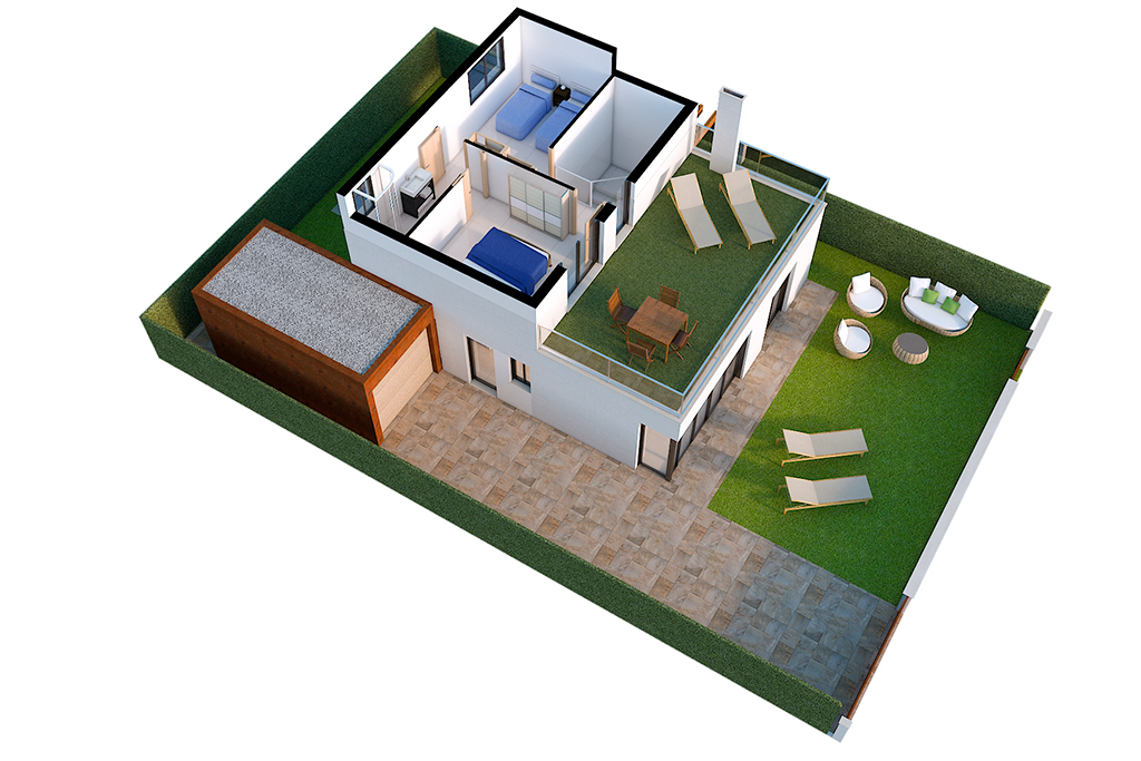 8 newly built Villas with 3 bedrooms, 2 bathrooms, terrace, garage within the plot and garden in residential village beach & golf Los Alcazares Murcia image 1
